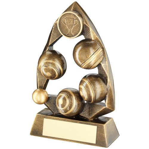 Bronze Gold Gold Lawn Bowls Diamond Collection Trophy Award - 6.5in