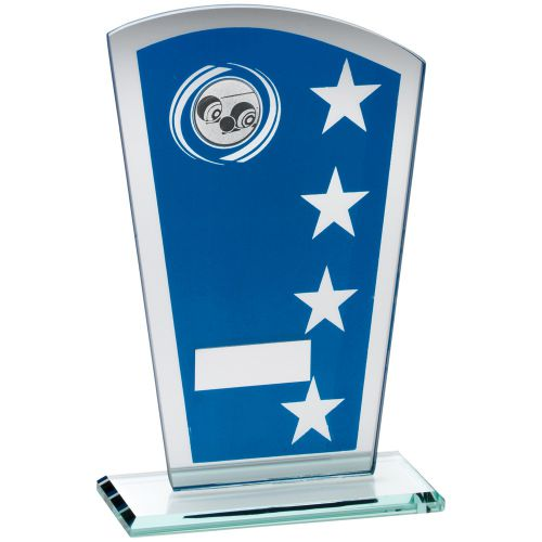 Blue Silver Printed Glass Shield Trophy Award With Lawn Bowls Insert Trophy - 7.25in
