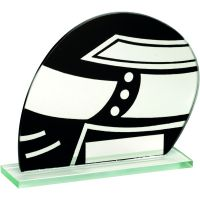 Jade Glass Black Silver Motor Sport Helmet Trophy - 5.25in