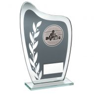Grey/Silver Glass Plaque With Go-Kart Insert Trophy 6.5in