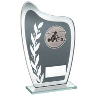 Grey Silver Glass Plaque With Go-Kart Insert Trophy 6.5in