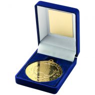 Blue Velvet Box and Gold Motor Sport Medal Trophy - 3.5in