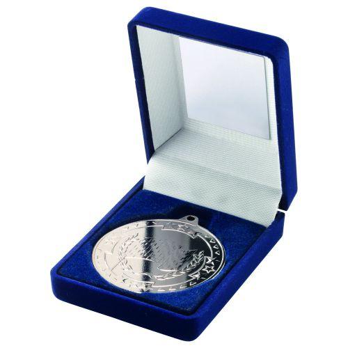 Blue Velvet Box And Silver Motor Sport Medal Trophy - 3.5in