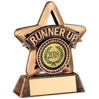 Bronze/Gold Resin Runner-Up Mini Star Trophy - 3.75in