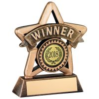 Bronze/Gold Resin Winner Mini Star Trophy - 4.25in