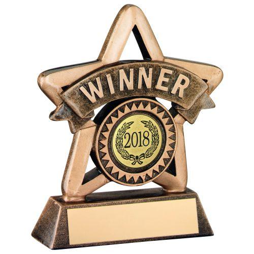 Bronze Gold Resin Winner Mini Star Trophy - 4.25in