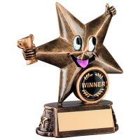 Bronze/Gold Resin Generic Comic Star Figure Trophy - 5in