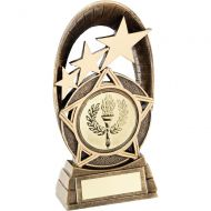 Bronze Gold Generic Tri-Star Oval Plaque Trophy - (2in Centre) 5.5in