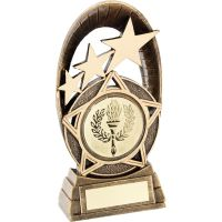 Bronze Gold Generic Tri-Star Oval Plaque Trophy - (2in Centre) 7.25in