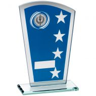 Blue/Silver Printed Glass Shield With Wreath/Star Design Trophy - (1in Centre) 6