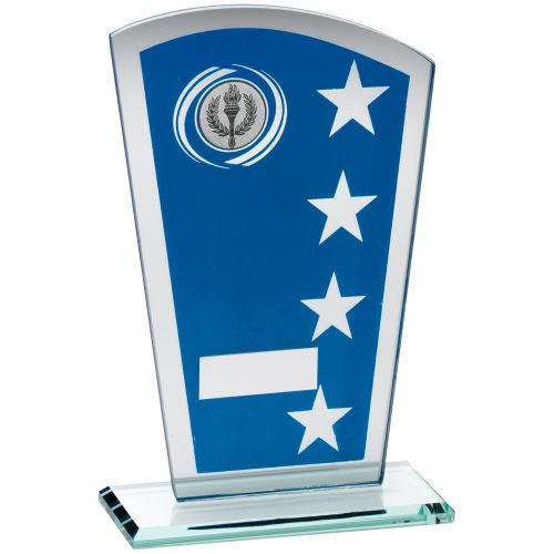 Blue Silver Printed Glass Shield Trophy Award With Wreath Star Design Trophy - (1in Centre) 6