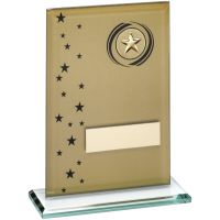 Gold/Black Printed Glass Rectangle With Wreath/Stars Trophy - (2in Centre) 7.5in