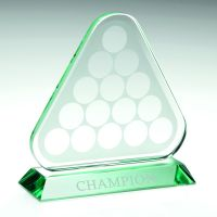 Jade Glass Triangle Plaque With Pool Snooker Balls (10mm Thick) - 6.75in