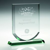 Jade Glass Shield Trophy Award (10mm Thick) - 8in