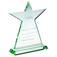 Jade Glass Tall Star Plaque (10mm Thick) 8in