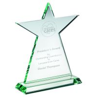 Jade Glass Tall Star Plaque (10mm Thick) 7.5in