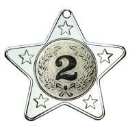 Silver Star-Shaped Medal - 2in