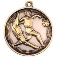 Antique Gold Double Footballer Medal - 2in