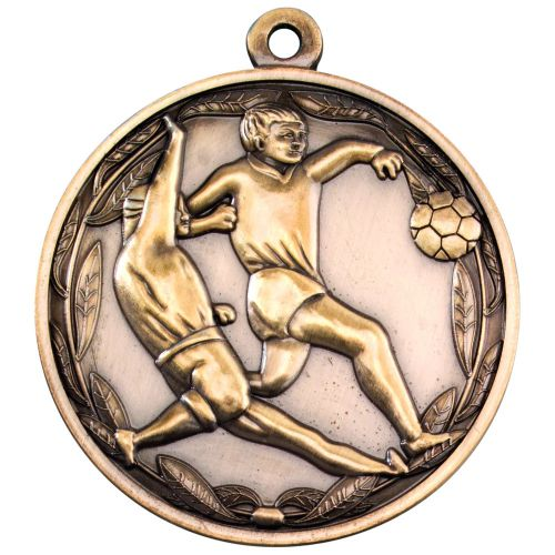 Antique Gold Double Footballer Medal - 2in