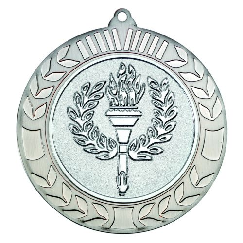 Antique Silver Wreath Medal (2in Centre) - 2.75in
