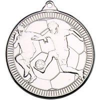 Football Multi Line Medal Silver 2in