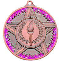 Striped Star Medal With Pink Glitter Bronze 2in