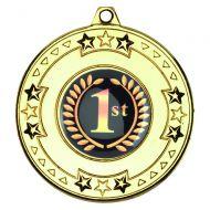 Gold Tri-Star Medal - 2in