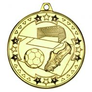 Gold Football Tri-Star Medal - 2in