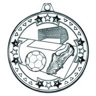 Silver Football Tri-Star Medal - 2in