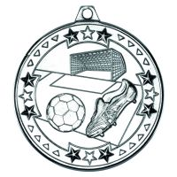 Silver Football Tri-Star Medal - 2in