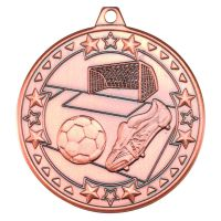 Bronze Football Tri-Star Medal - 2in