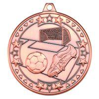 Bronze Football Tri-Star Medal - 2in