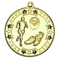 Gold Running Tri-Star Medal - 2in