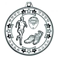 Silver Running Tri-Star Medal - 2in