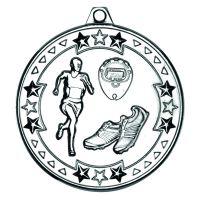 Silver Running Tri-Star Medal - 2in