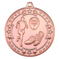 Bronze Running Tri-Star Medal - 2in