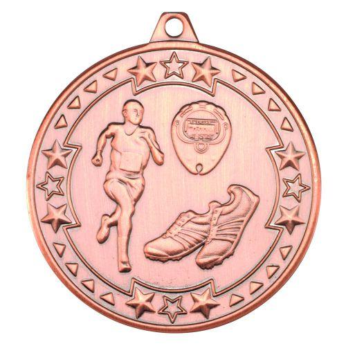 Bronze Running Tri-Star Medal - 2in