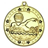 Gold Swimming Tri-Star Medal - 2in