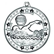 Silver Swimming Tri-Star Medal - 2in