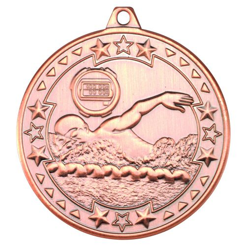 Bronze Swimming Tri-Star Medal - 2in