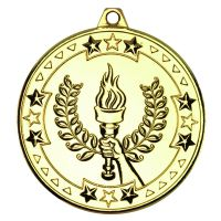 Gold Victory Torch Tri-Star Medal - 2in
