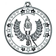 Silver Victory Torch Tri-Star Medal - 2in