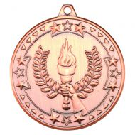 Bronze Victory Torch Tri-Star Medal - 2in