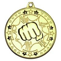 Gold Martial Arts Tri-Star Medal - 2in