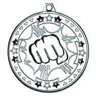 Silver Martial Arts Tri-Star Medal - 2in