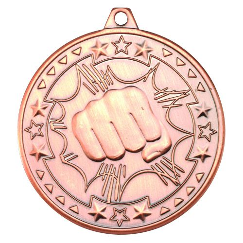 Bronze Martial Arts Tri-Star Medal - 2in