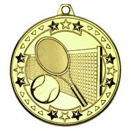 Gold Tennis Tri-Star Medal - 2in