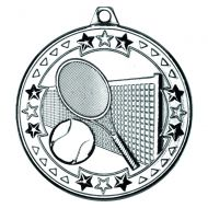 Silver Tennis Tri-Star Medal - 2in