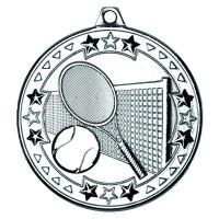 Silver Tennis Tri-Star Medal - 2in