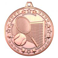 Bronze Tennis Tri-Star Medal - 2in